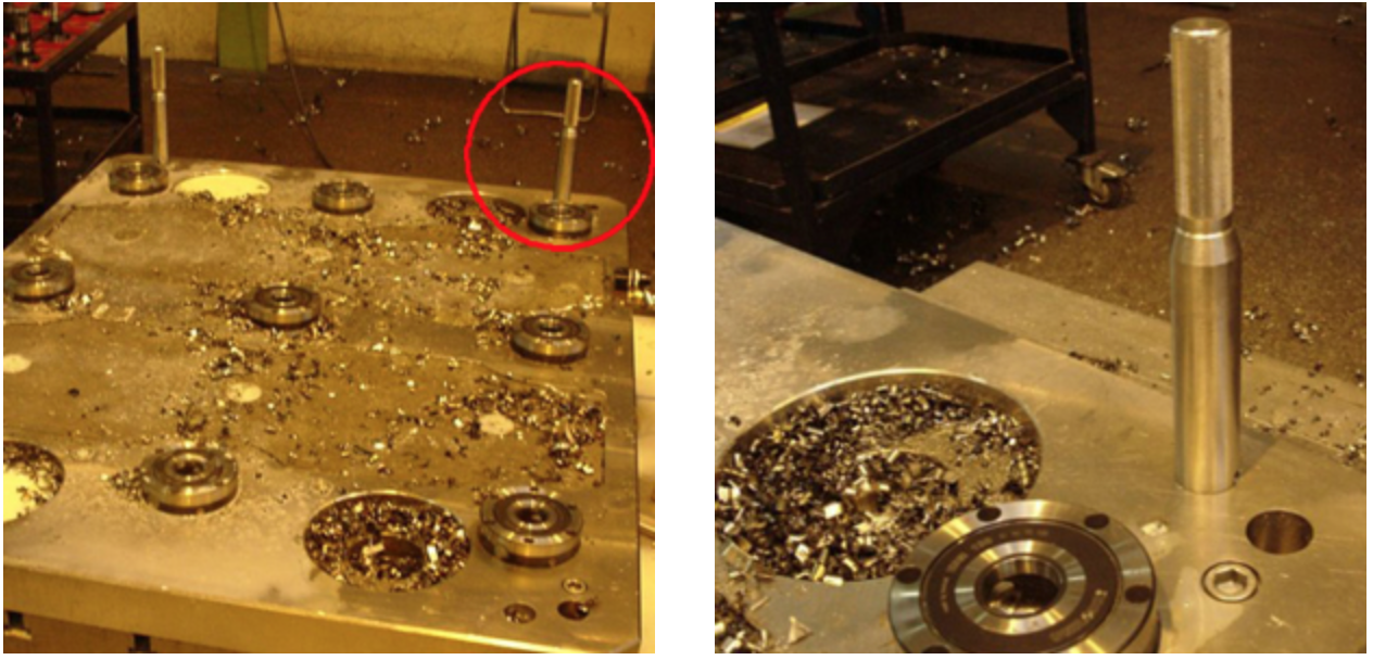 Unilock Guide pins installed on a sub-plate